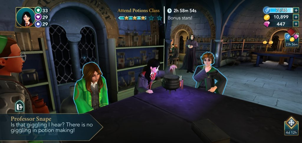 "Professor Snape reminds you that joy is not allowed in Potions class in ""Harry Potter: Hogwarts Mystery""."