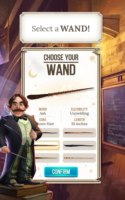 "Professor Flitwick encourages you to select your wand in ""Harry Potter: Puzzles & Spells""."