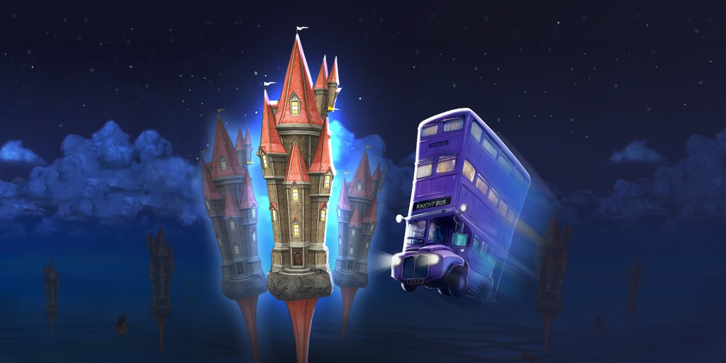 "The Knight Bus is pictured driving toward a Fortress in ""Harry Potter: Wizards Unite""."
