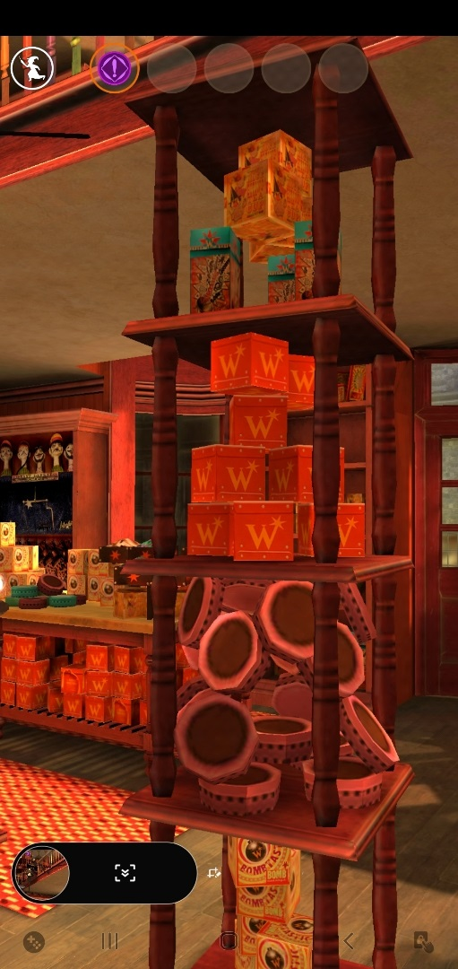 A wide variety of products fill the shelves in Weasleys' Wizard Wheezes.