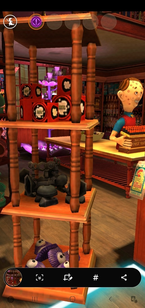 A screenshot of Weasleys' Wizard Wheezes shows the shop's display of love potions in the background.