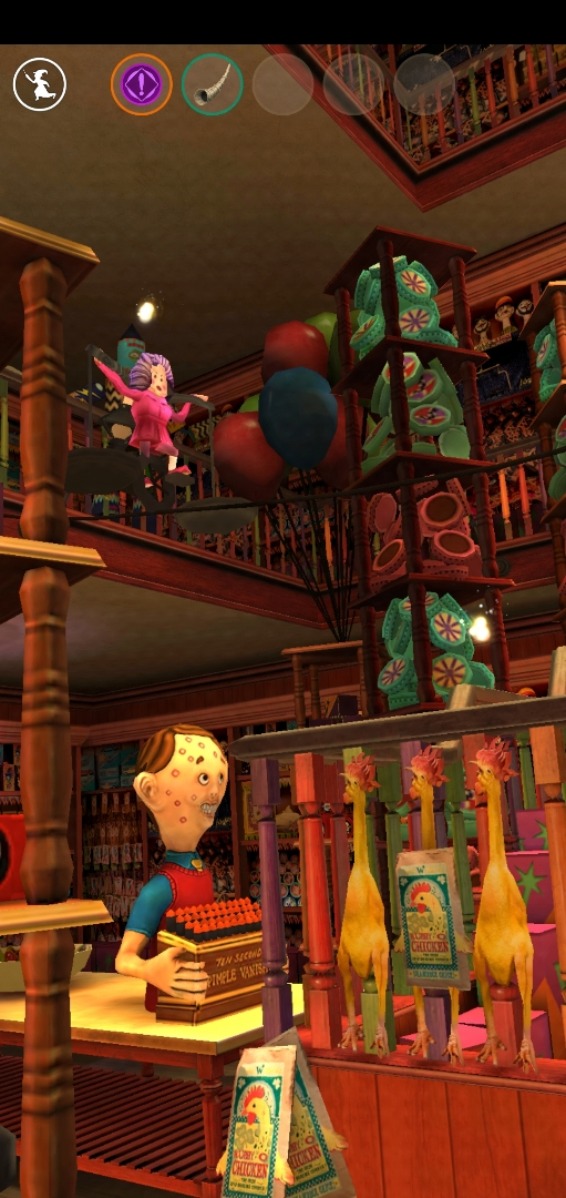 A Dolores Umbridge toy is seen balancing its way across a wire in Weasleys' Wizard Wheezes.