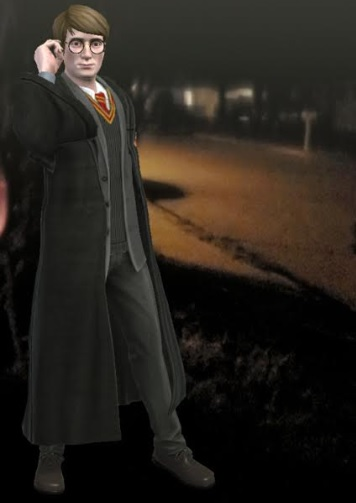"""Young James Potter adjusts his glasses in """"Harry Potter: Wizards Unite""""."""