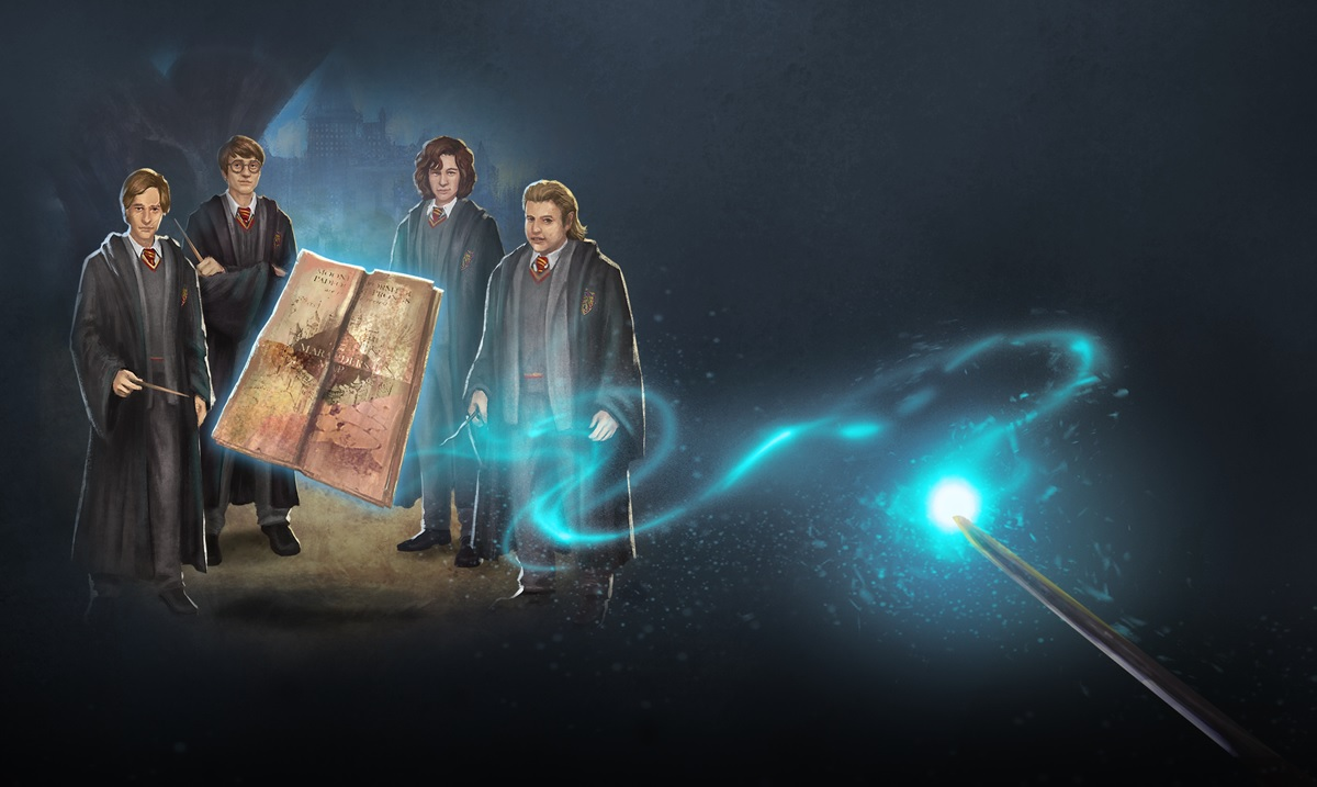 "Young Remus Lupin, James Potter, Sirius Black, and Peter Pettigrew are featured in a graphic from ""Harry Potter: Wizards Unite""."