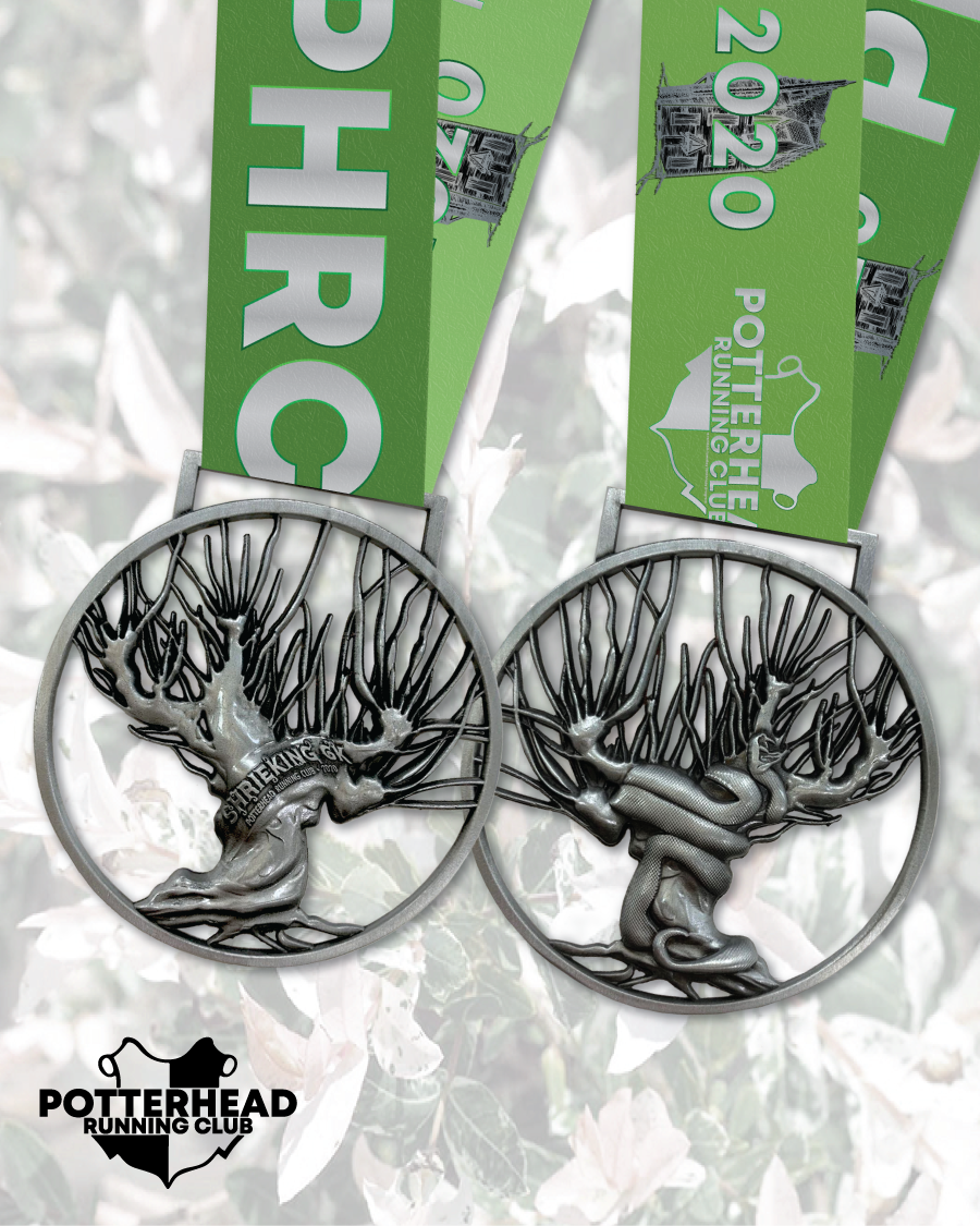 An image of the medal for the Potterhead Running Club Shrieking 6K.