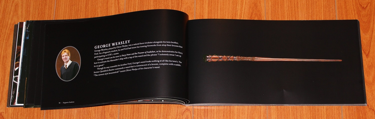 Spread showing George Weasley's blurb on the left and wand image on the right
