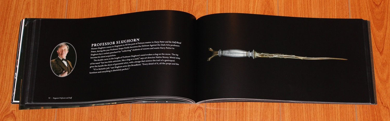 Spread showing Professor Slughorn's blurb on the left and wand image on the right