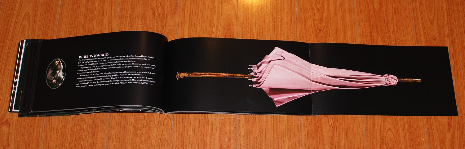 Spread showing Rubeus Hagrid's blurb on the left and a fold-out of his pink umbrella on the right