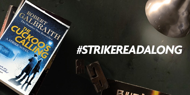 Image of The Cuckoo's Calling book with the hashtag #StrikeReadalong
