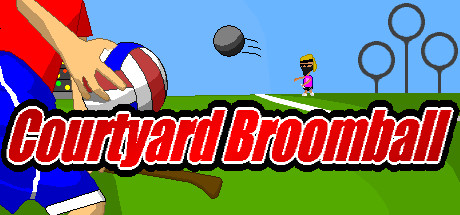 Header of the PC Game Courtyard Broomball. One man is holding a Quaffle; there are three hoops in the background.