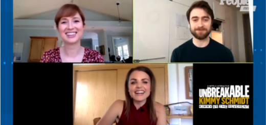 "Actor Daniel Radcliffe (Harry Potter) appears with ""Unbreakable Kimmy Schmidt: Kimmy vs. the Reverend"" costar Ellie Kemper in an interview for ""People Now""."