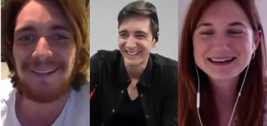 "On an episode of their podcast ""Double Trouble"", James Phelps (Fred Weasley) and Oliver Phelps (George Weasley) host on-screen sister Bonnie Wright (Ginny Weasley). James is pictured at the left; Oliver is pictured in the center; and Bonnie is pictured at the right."