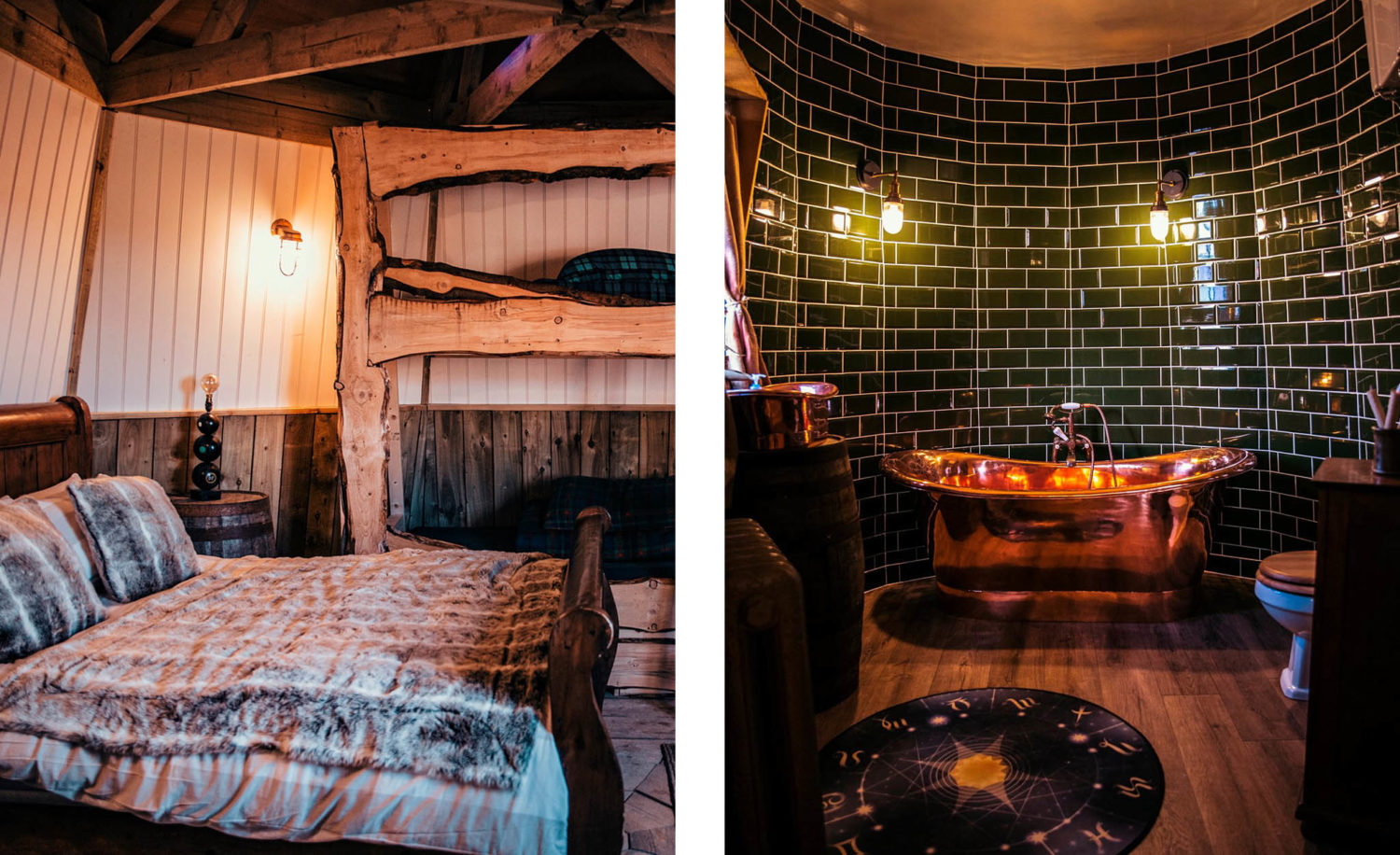 The wooden panels and bed frames give the bedroom a cozy feel, while the bathroom tiles resemble the Ministry of Magic.