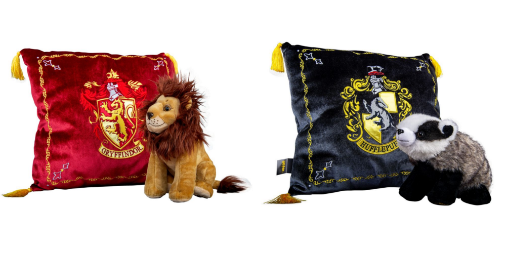 The Glorious Gryffindor House Mascot Plush & Cushion Set and the Homely Hufflepuff House Mascot Plush & Cushion Set from Merchoid are pictured.