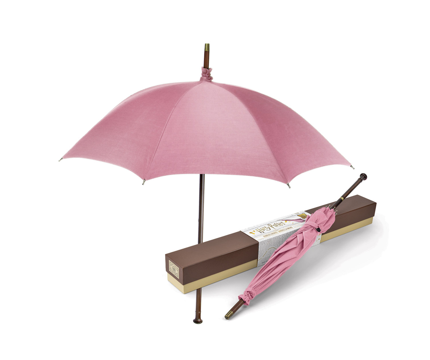 The umbrella comes packaged in a box and can be fastened shut with a button loop.