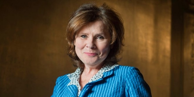 Imelda Staunton smiling and looking great.