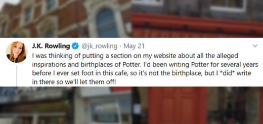 "J.K. Rowling's first tweet in a thread about the ""birthplace"" of ""Harry Potter"", pictured over blurred photos of two possible locations."