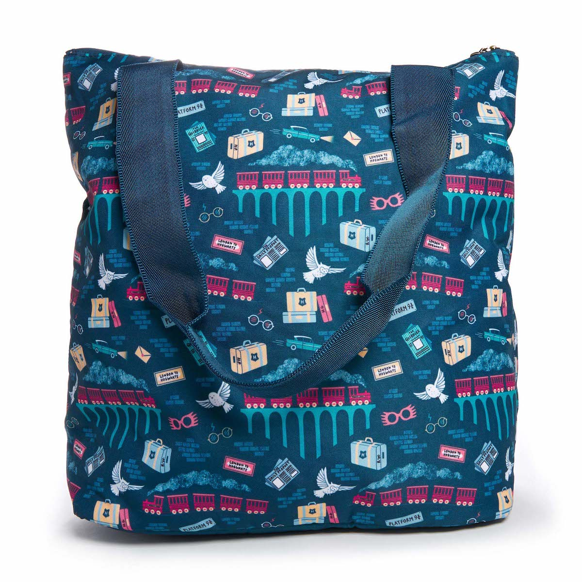 The All That Tote features a block color panel and is made from germ-resistant fabric.