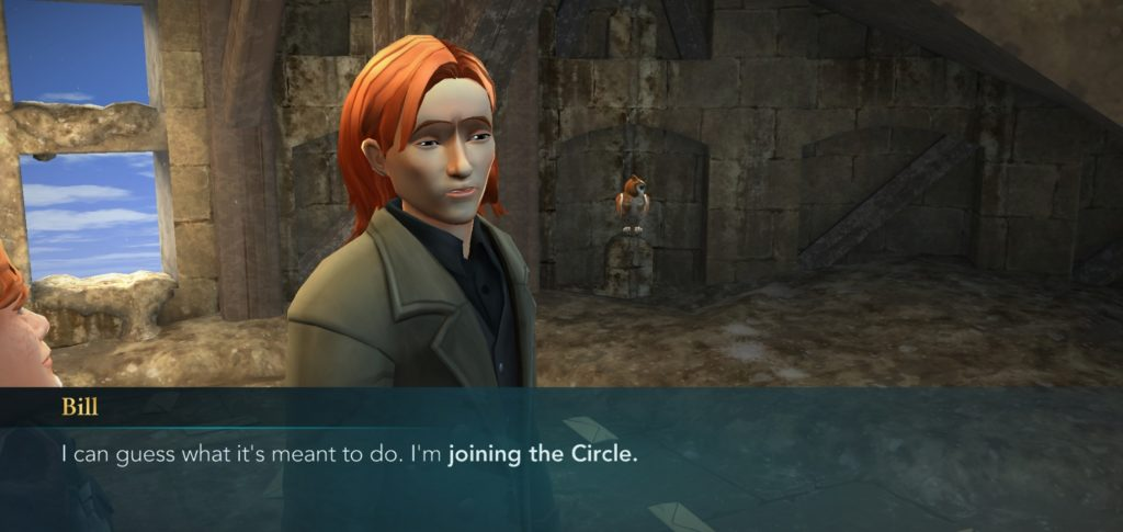 """Bill Weasley informs you he'll be joining the Circle of Khanna in """"Hogwarts Mystery""""."""