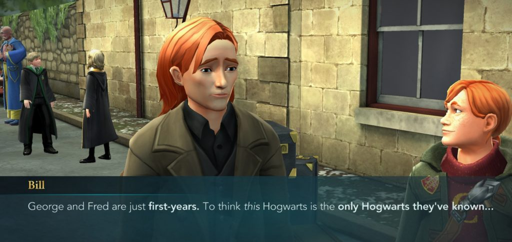Bill Weasley reminds us that Fred and George Weasley have never had a happy day at Hogwarts. Thanks, Bill!