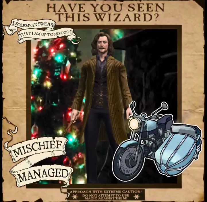 """A reimagined wanted poster of Sirius Black is dressed up with """"Wizards Unite"""" frames and stickers."""