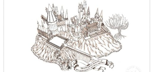 There is a drawing of the full Hogwarts castle in brown ink on a white background, complete with a Whomping Willow.