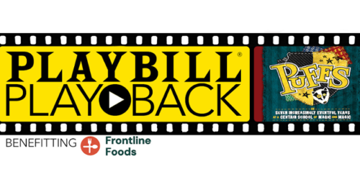 "The Playbill Playback banner for the stream of ""Puffs"", to benefit Frontline Foods, is shown."
