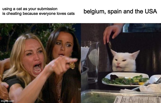 Belgium, Spain, and the US have a cat in their videos, but also the Czech Republic.