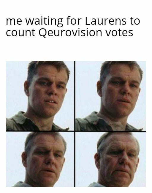 Everyone has to wait until Laurens counts the votes, and in that moment, memes started.