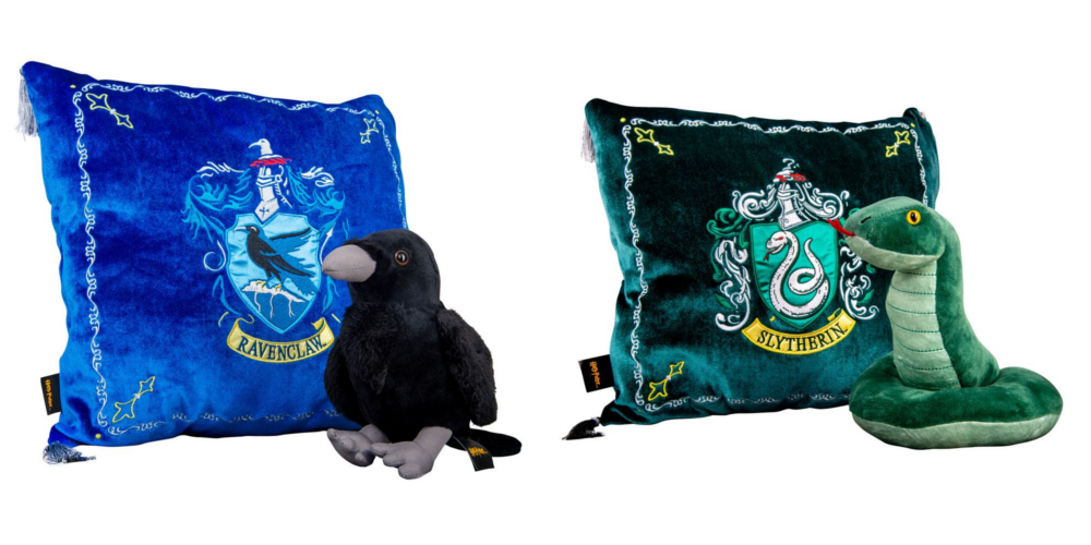The Relaxing Ravenclaw House Mascot Plush & Cushion Set and the Snuggly Slytherin House Mascot Plush & Cushion Set from Merchoid are pictured.