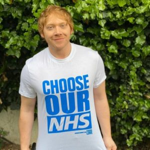 "Rupert Grint wearing his ""Choose Our NHS"" t-Shirt."
