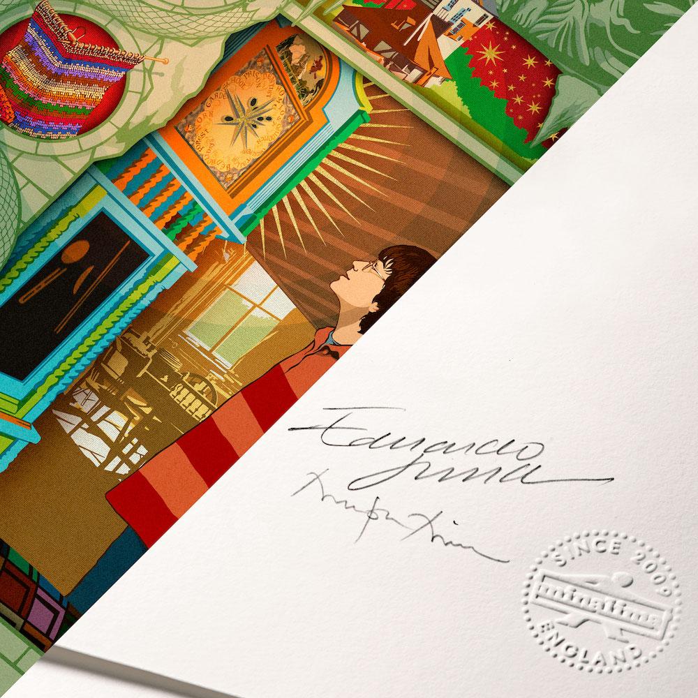 A close up of Miraphora Mina's and Eduardo Lima's signatures on MinaLima's latest print.