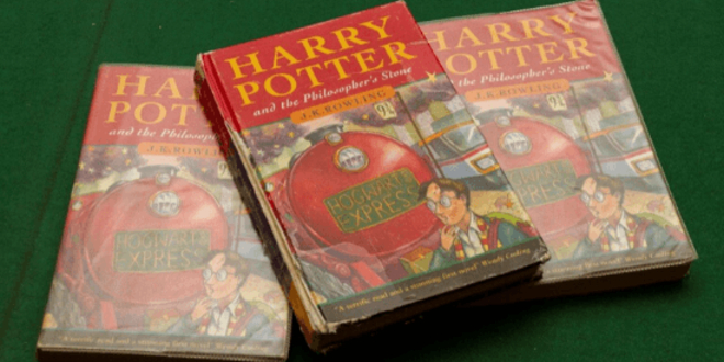 "A photo of three first editions of ""Harry Potter and the Philosopher's Stone"" that are up for auction by Hanson's Auctioneers."
