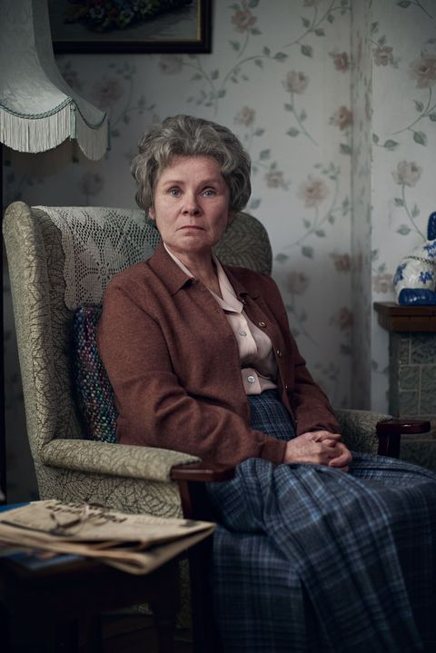 Imelda Staunton as the Lady of Letters in Alan Bennett's Talking Heads. She is sitting in an armchair in an average living room.