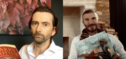"An image of David Tennant and David Beckham reading ""Harry Potter and the Philosopher's Stone""."