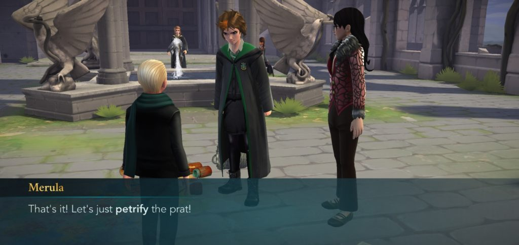 Merula Snyde wants to petrify Draco Malfoy, and we all feel her pain.