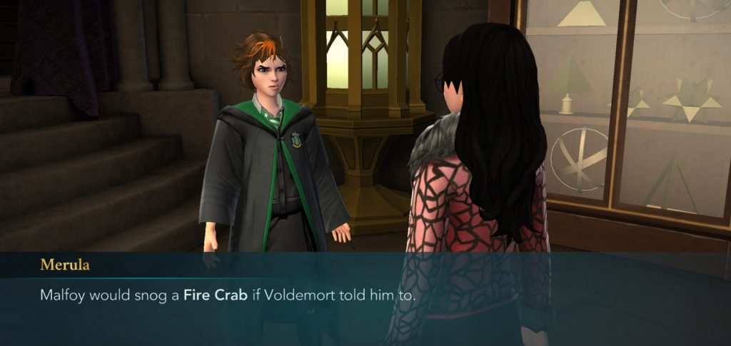 Merula Snyde creatively notes how far Lucius Malfoy would go for Voldemort.