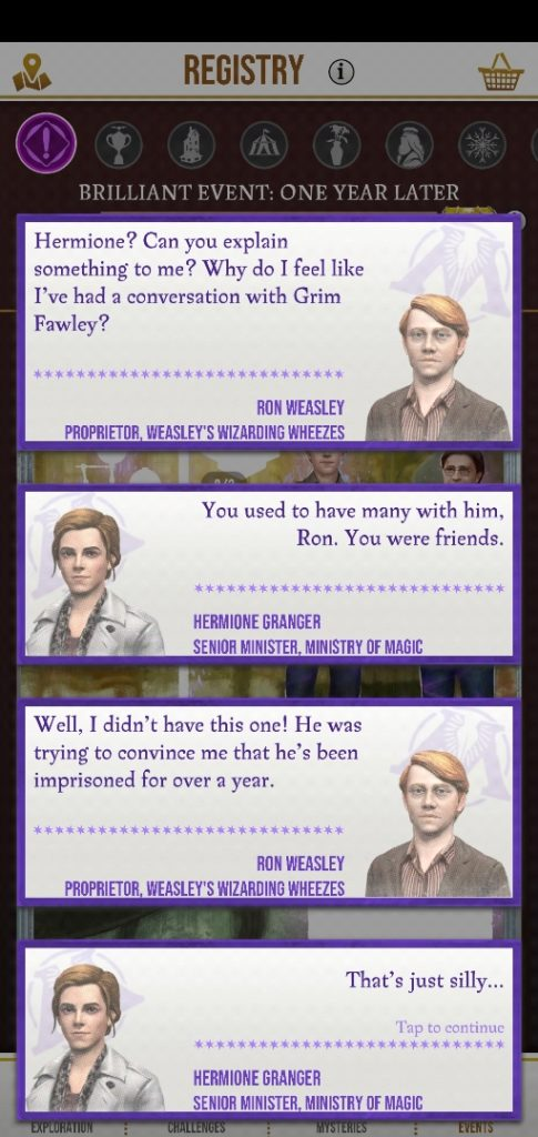 Ron Weasley is left with a phantom memory of Grim Fawley after being affected by the Calamity.