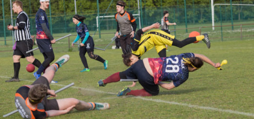 Snitch runner is falling, seeker in blue jersey just catch the snitch and he is also falling. Oponent's seeker is lying on the grounf. Another players and referee are on the background.