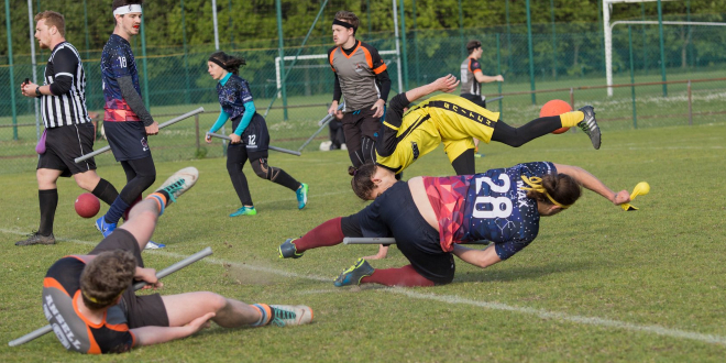 A snitch runner and seeker are shown falling, while the opposing team's seeker is lying on the ground. Other players and a referee are in the background.