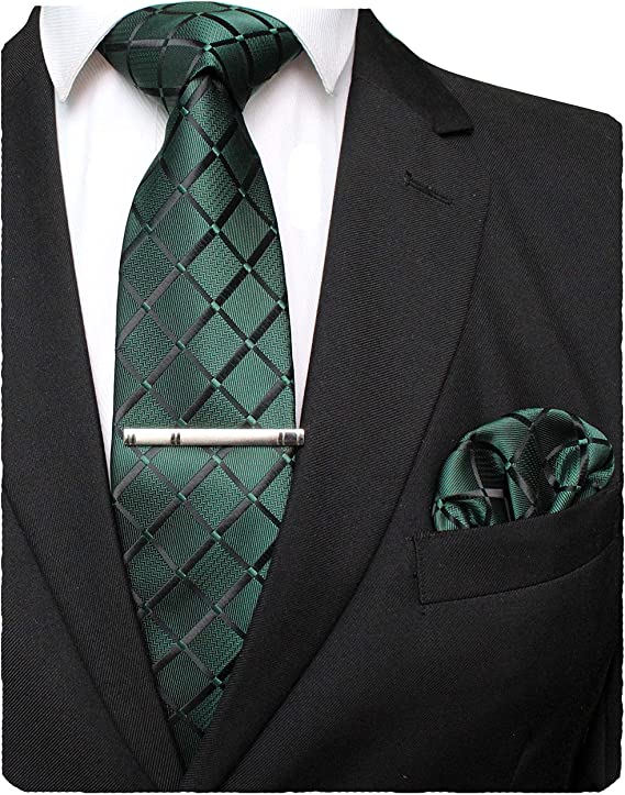 Green tie and pocket square with tie clip