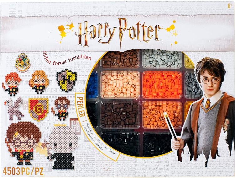 The Perler Harry Potter Fused Bead Kit is pictured.