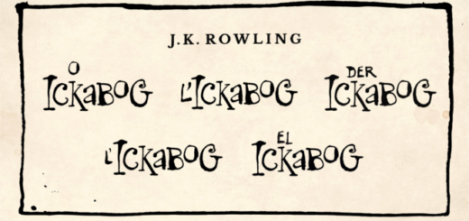 "The translated title of ""The Ickabog"" is displayed in French, Italian, German, Spanish, and Brazilian Portuguese."