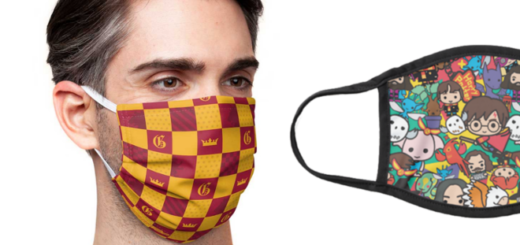Two designs from the licensed Wizarding World collection of face coverings are shown.
