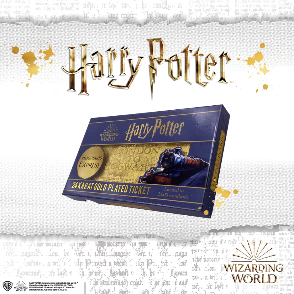 A purple box is shown with a 24k golden Hogwarts Express ticket inside, under Harry Potter in large lightning font.