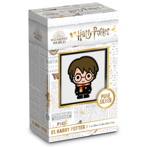 """An image of the packaging of New Zealand Mint's first """"Harry Potter"""" chibi coin."""