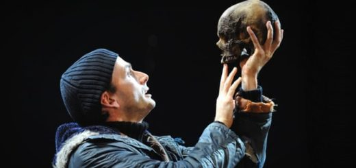 David Tennant holds a skull as Hamlet at the Royal Shakespeare Company.