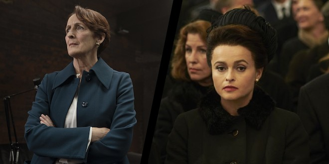 Fiona Shaw in action as Carolyn in Killing Eve, next to her in a split image is Helena Bonham Carter as Princess Margaret in The Crown.