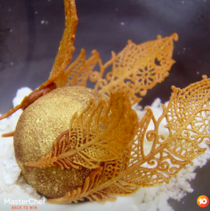 'MasterChef Australia' contestant Reynold Poernomo's Golden Snitch dessert is pictured.