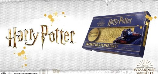 A purple box with a pure gold replica of the Howgwarts Express ticket is pictured next to Harry Potter written in golden lighting font.